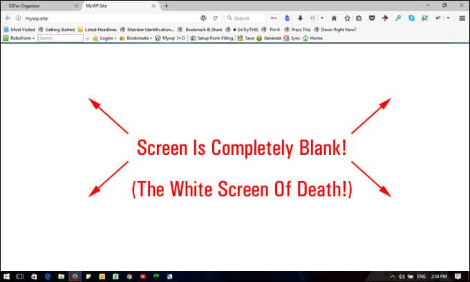 Λευκή οθόνη White Screen of Death στο WordPress
